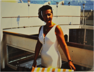 Mildred Klungman in her late 40s on a cruise.