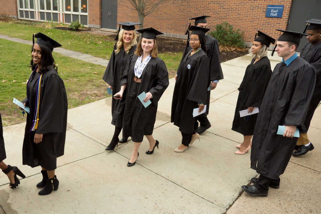 Southern Journalism graduates walk to the Lyman Center before the ceremony Dec. 18. | Vern Williams photo