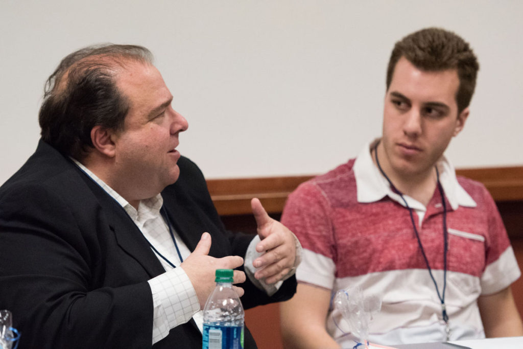 "Dom Amore, a Hartford Courant reporter, and Dan Zumpano, the sports director for WSIN radio during a Friday April 8, panel session at ""Making CONNections"" a Regional Journalism Conference at Southern Connecticut State University."