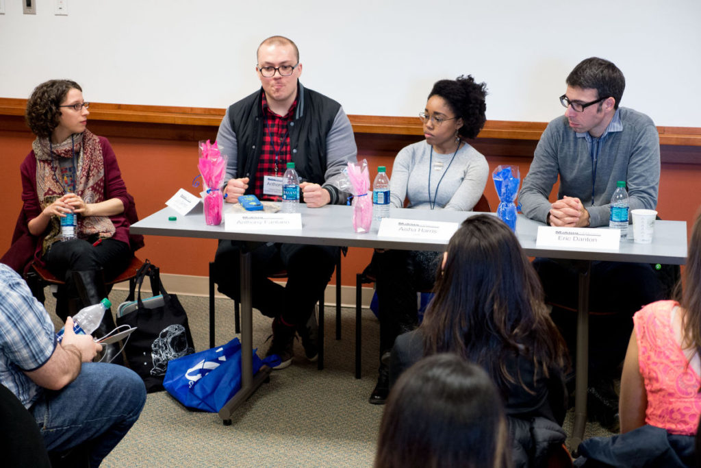 "Lucy Gellman, Anthony Fantano creator of The Needle Drop, Aisha Harris a staff writer for Slate and Eric Danton former Hartford Courant rock critic during a panel session, Saturday April 9, at ""Making CONNections"" a Regional Journalism Conference at Southern Connecticut State University."