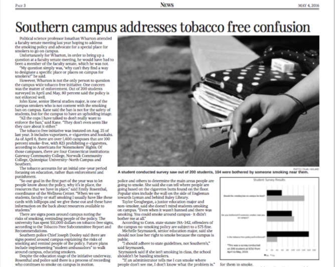 Southern campus addresses tobacco free confusion