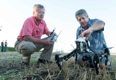 Gary Gillam, Director of Media Services, the Richard T. Robertson School of Media & Culture, Virginia Commonwealth University and Jon Ransack of DJI  prepare an Inspire 1RAW for flight during the inaugural Drone Journalism Boot Camp @ University of Nebraska-Lincoln Friday, August 12, 2016.
