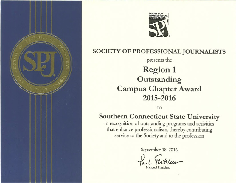 SCSU SPJ named Region 1 Outstanding Campus Chapter