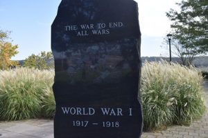 Shelton war monument in Veterans Park. The slab honors those who were killed in action.