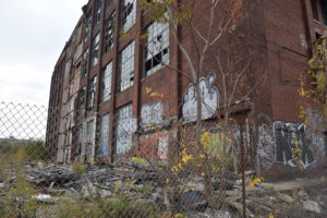 Photo of abandoned Remington Arms Company on East Side of Bridgeport, Conn. on Arctic St. and Helen St. Photo taken on Nov. 9, 2016 by Sherly Montes.