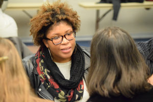 "Diane Lazarus, a journalism student at Southern, listens to alumni during a ""speed dating"" networking event at the Journalism Alumni Night Nov. 30. 