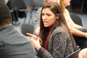 Juliemar Ortiz, a reporter at the New Haven Register, at Journalism Alumni night, Nov. 30. | Jodie Mozdzer Gil photo.