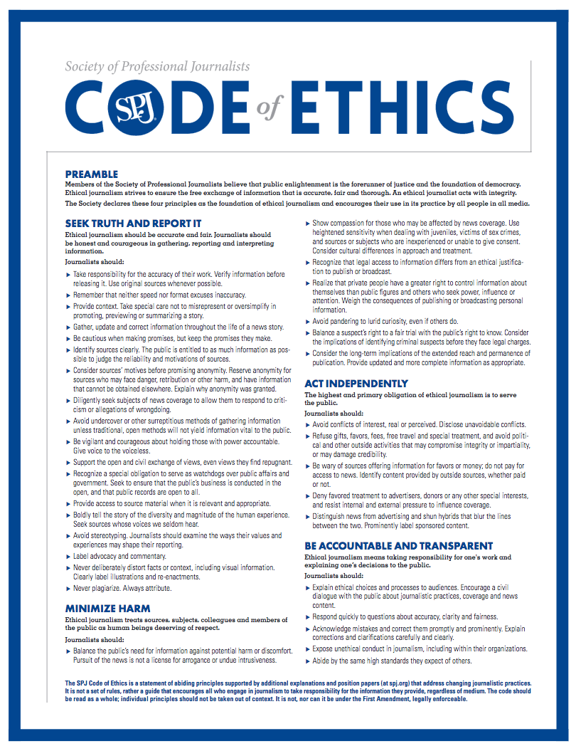 An online editor reflects on journalism ethics scsu journalism the spj code of ethics pronofoot35fo Choice Image